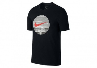 NIKE DRY BASKETBALL UPSIDE DOWN COURT TEE BLACK