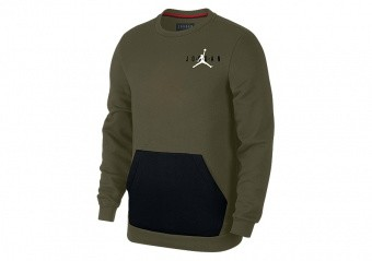 NIKE AIR JORDAN SPORTSWEAR JUMPMAN AIR FLEECE CREW OLIVE CANVAS