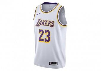 NIKE NBA LOS ANGELES LAKERS LEBRON JAMES SWINGMAN HOME JERSEY WHITE