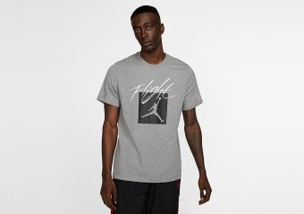 NIKE AIR JORDAN JUMPMAN FLIGHT CREW TEE CARBON HEATHER