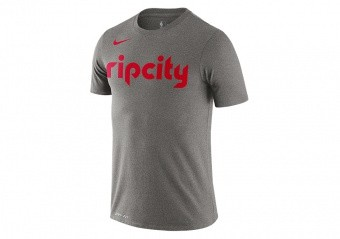 NIKE NBA PORTLAND TRAIL BLAZERS LOGO DRI-FIT TEE DARK GREY HEATHER