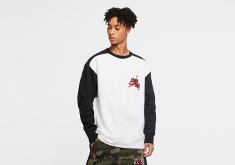 NIKE AIR JORDAN JUMPMAN CLASSICS FLEECE CREW WHITE
