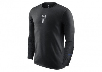 NIKE NBA BROOKLYN NETS COURTSIDE CITY EDITION LONG-SLEEVE TEE BLACK